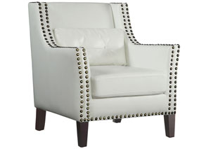 White & Dark Brown Accent Chair