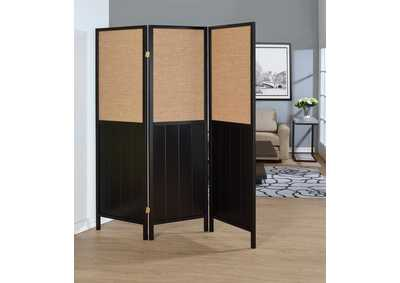 Black 3 Panel Folding Screen