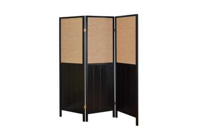 Image for Licorice Traditional Black Three-Panel Folding Screen