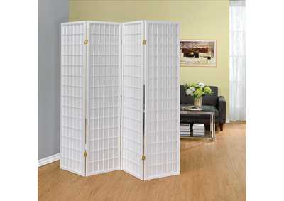 White 4 Panel Folding Screen
