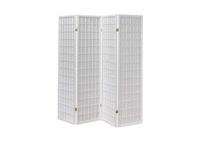 Image for Silver White Four Panel Folding Screen