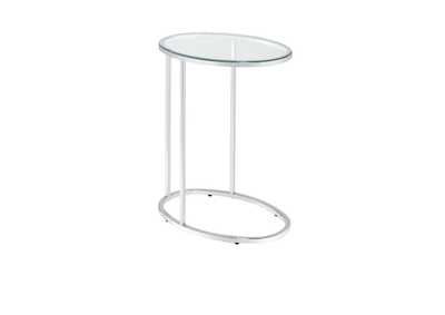 Image for Chrome Contemporary Glass and Chrome Snack Table