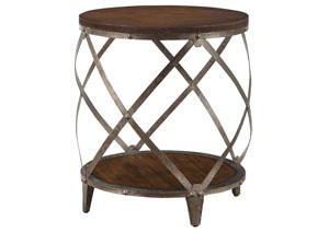 Oak/ Red Brown Accent Table