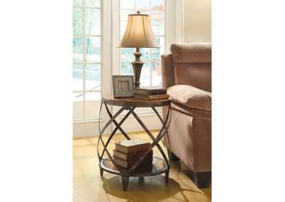 Oak/Red Brown Accent Table