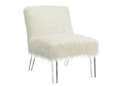 Fuzzy White Accent Chair