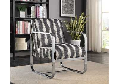 White and Gray Pattern Accent Chair