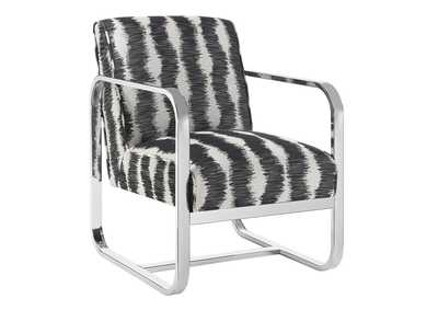 White & Grey Pattern Accent Chair