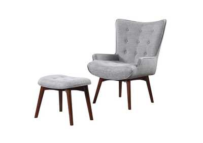 Grey & Brown Accent Chair With Ottoman