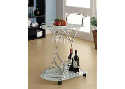 Image for Sandal Contemporary Chrome Serving Cart