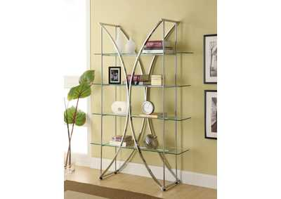 Chrome and Glass Bookcase