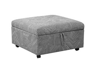 Grey Upholstered Patterned Ottoman