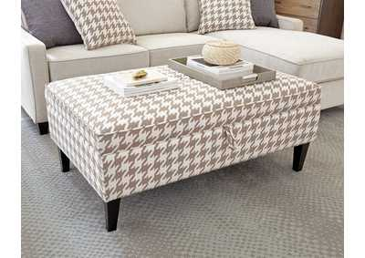 Image for Beige & White Upholstered Storage Ottoman