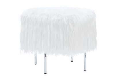 Image for Geyser White Faux Sheepskin Ottoman