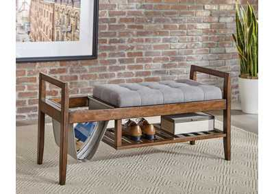 Walnut & Grey Slatted Shelf Bench