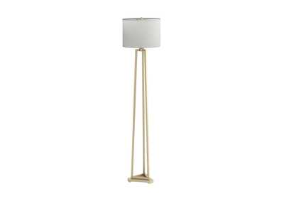 Gold Floor Lamp W/ White Shade