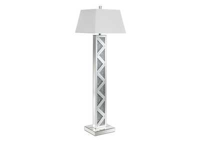 Silver Floor Lamp W/ White Shade