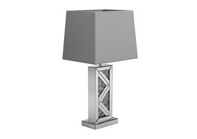Silver Table Lamp W/ Grey Shade