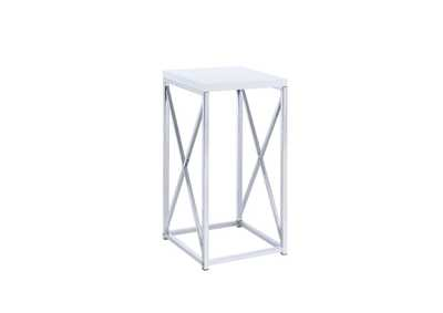 Image for White High Gloss Contemporary Glossy White and Chrome Accent Table
