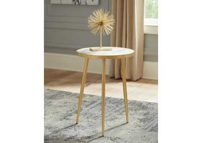 Gold Finish Round Top Accent Table