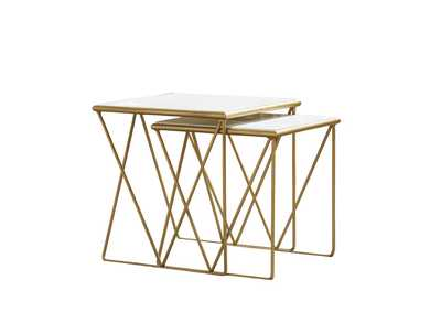 Image for White Modern Marble and Gold Nesting Tables