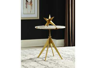 Tastemaker Gold Accent Table w/Marble Top