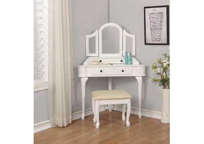 Beige/White Vanity Set