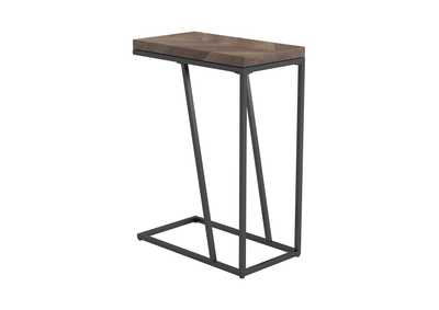 Chevron Rustic Tobacco Herringbone Accent Table