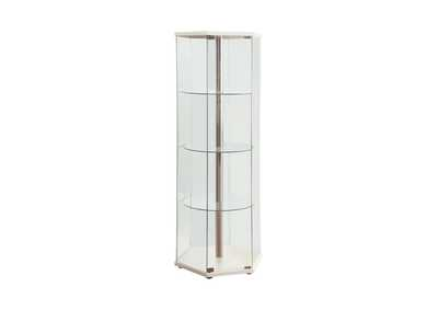White Traditional Glass Hexagon Curio Cabinet