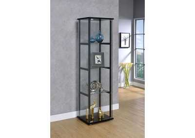Image for Black Contemporary Glass and Black Curio Cabinet