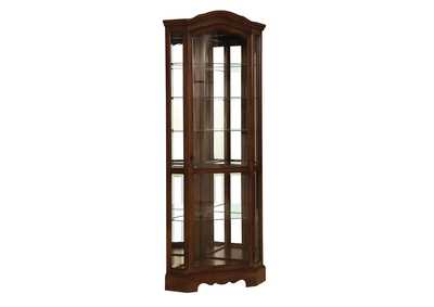 Cedar Traditional Rich Brown Corner Curio Cabinet