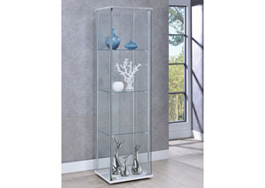 Chrome/White Curio Cabinet