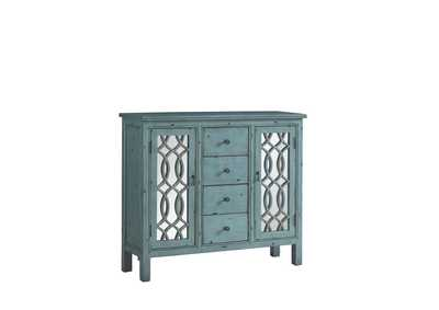 French Antique Blue Accent Cabinet