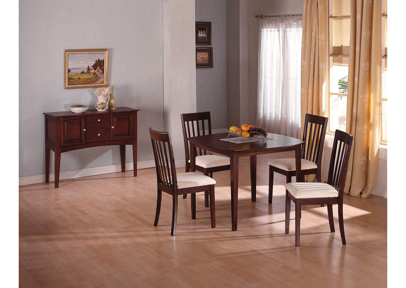 Ashland Wood Dining Table w/4 Side Chairs,Crown Mark