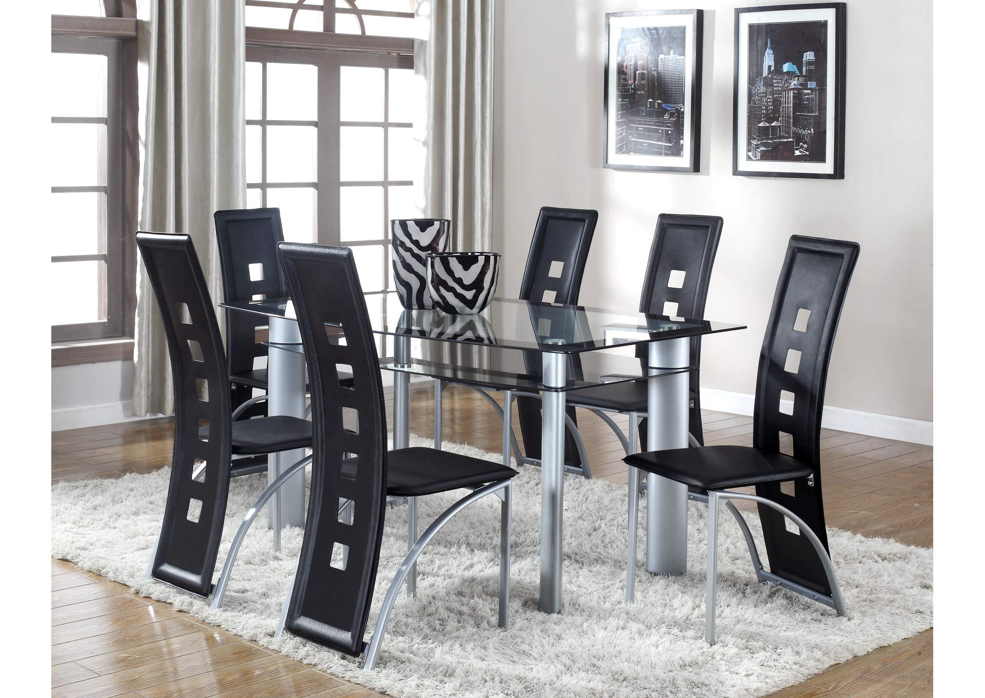 Echo Chrome Dining Table,Crown Mark