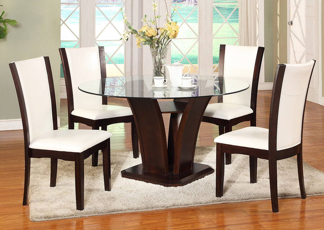 Camelia White Glass Round Dining Room Table w/4 Side Chairs,Crown Mark