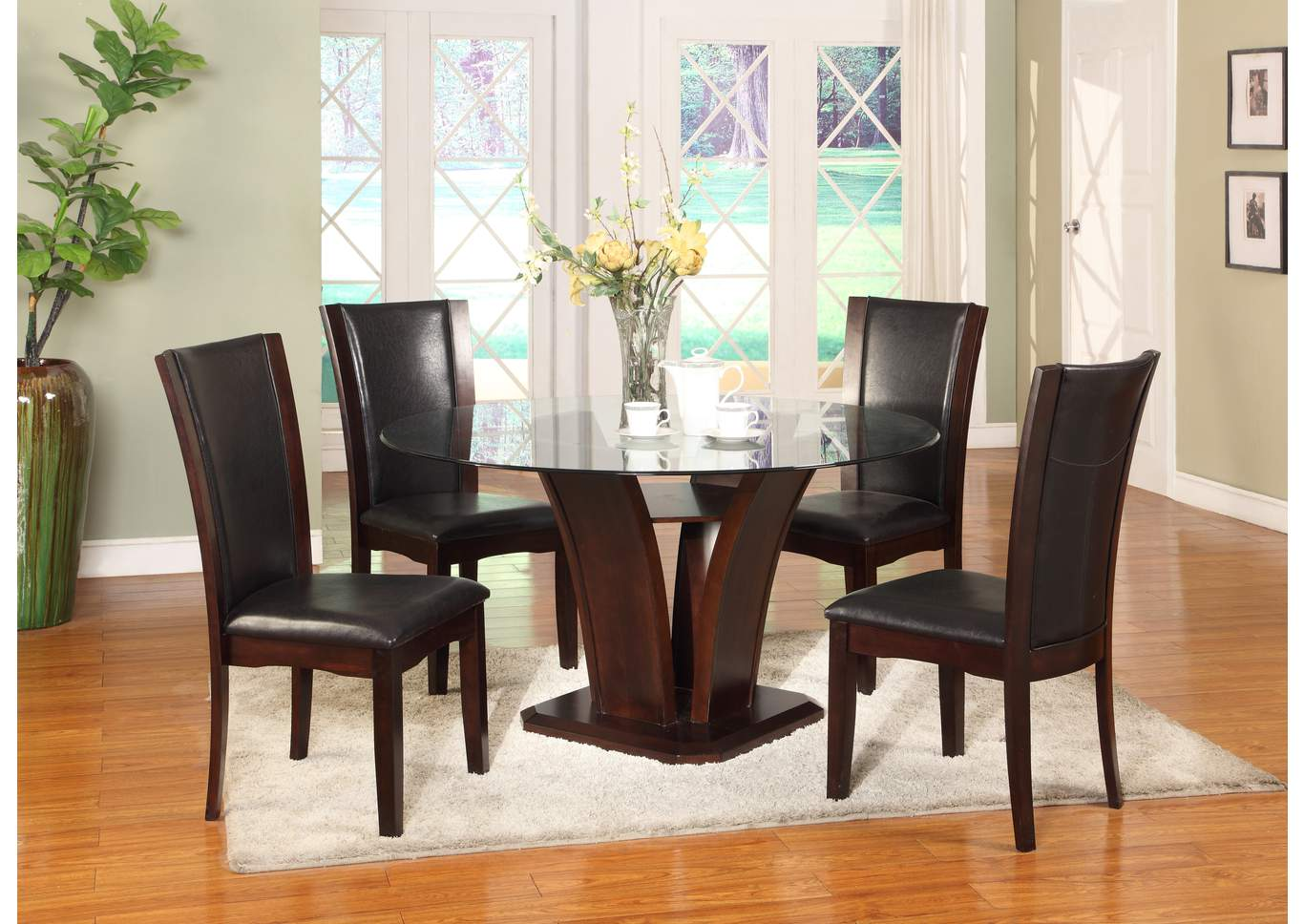 Camelia Glass Round Dining Room Table w/4 Side Chairs,Crown Mark