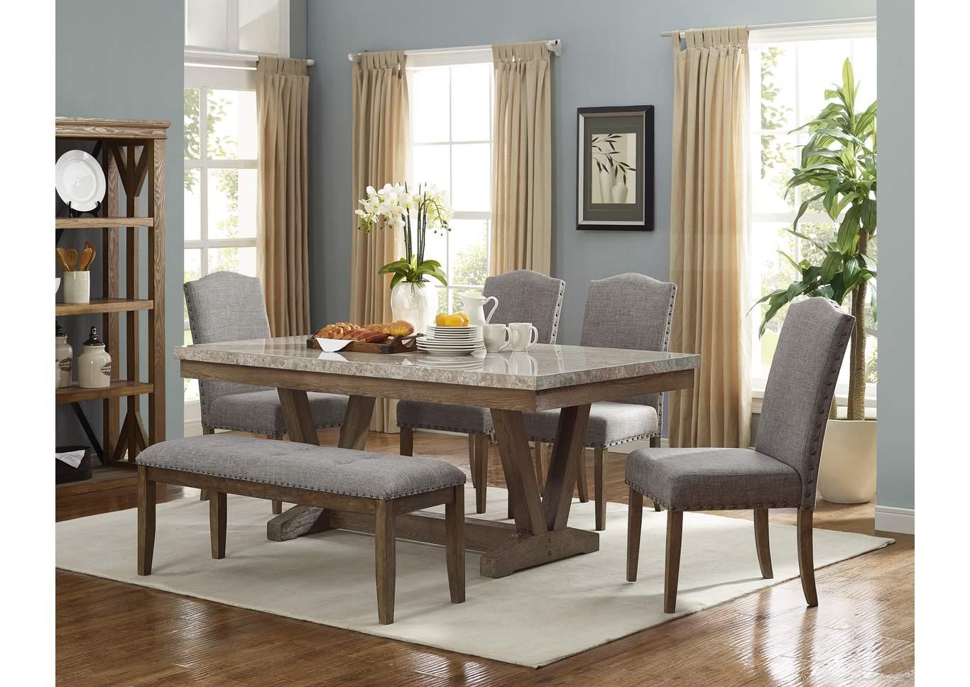 Vesper grey upholstered dining benchcrown mark