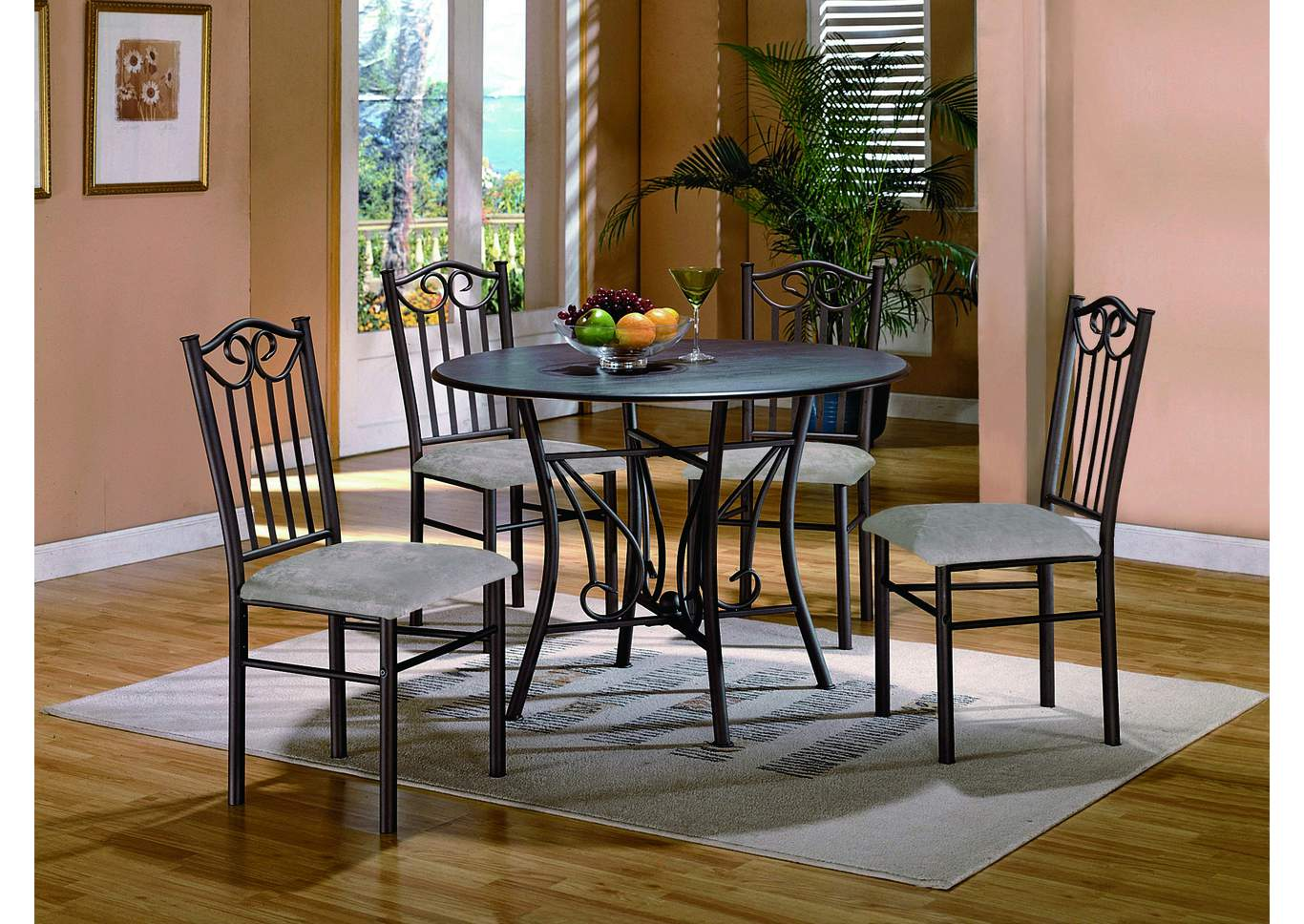Hayes Taupe Round Dining Room Table W/ 4 Side Chairs,Crown Mark