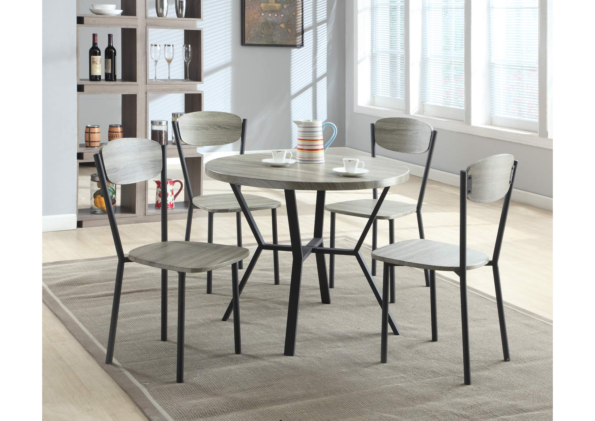 Blake Round Dining Room Table w/ 4 Side Chairs,Crown Mark