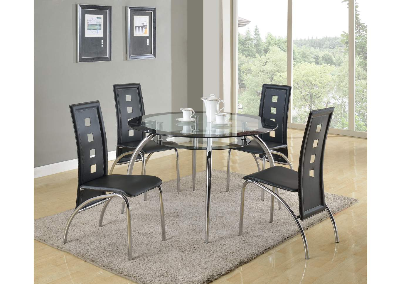 Mila Round Dining Room Table w/4 Side Chairs,Crown Mark