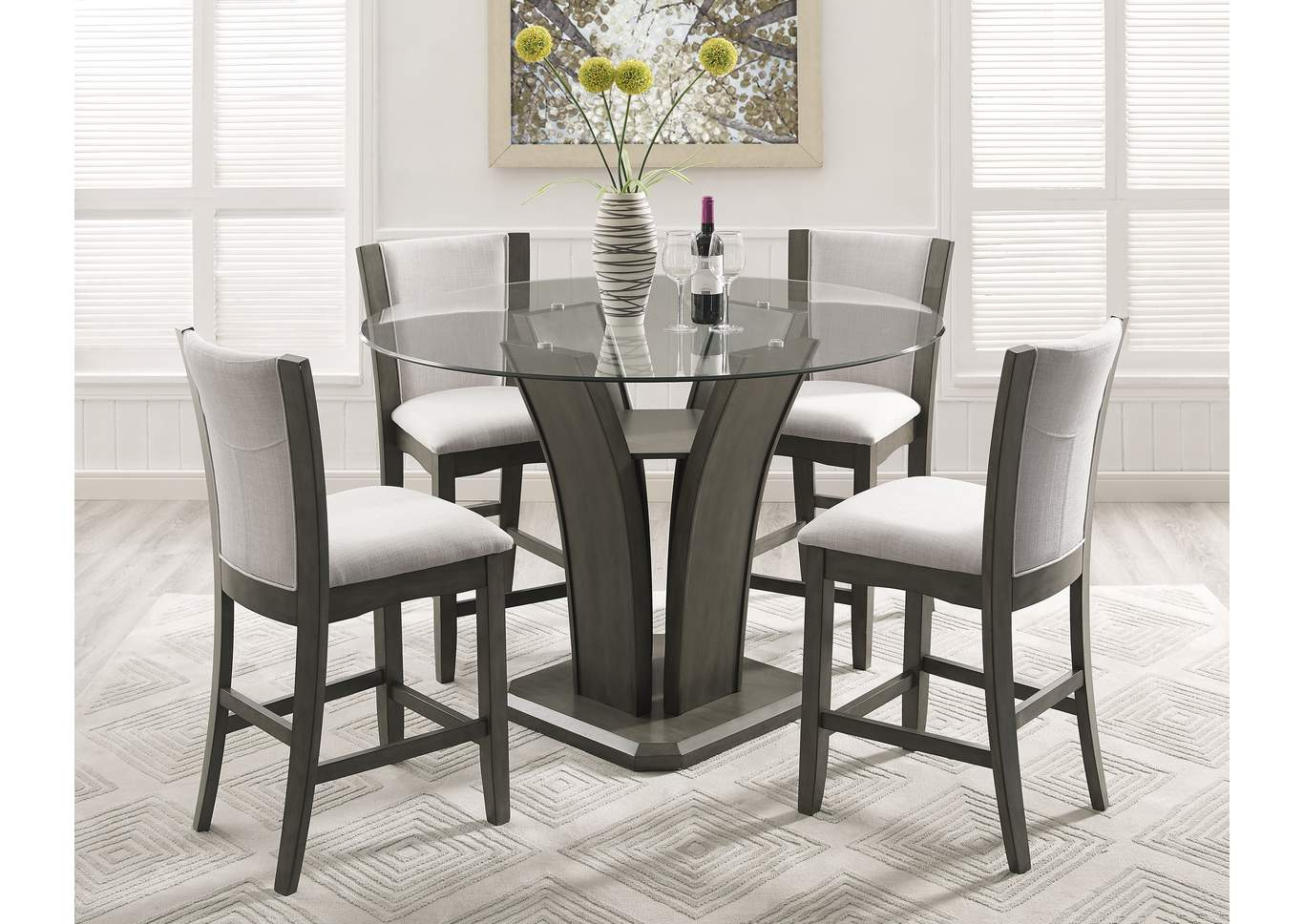 Camelia Gray Counter Height Table W/4 Side Chairs,Crown Mark