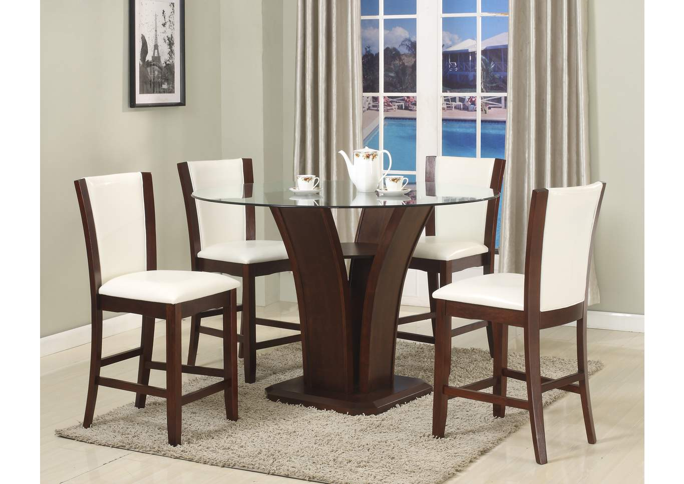 Camelia Counter Height Dining Room Table w/4 White Counter Height Chairs,Crown Mark