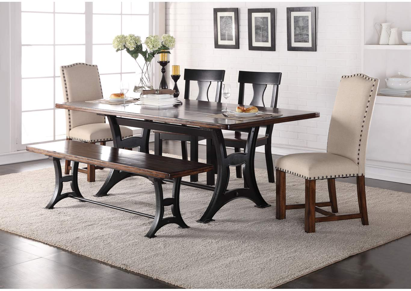 Astor Rectangular Dining Table W 2 Wood Upholstered Chairs Bench