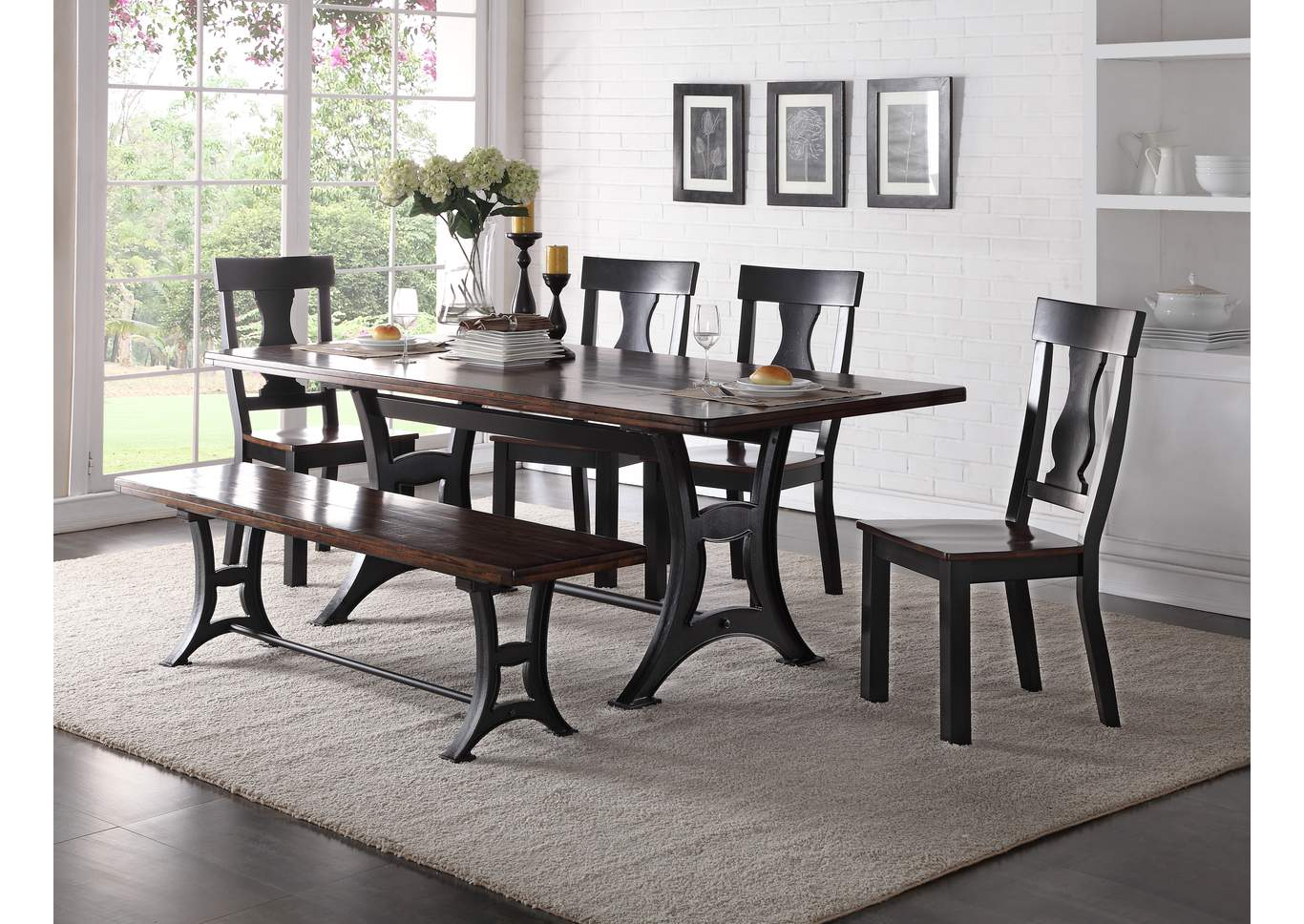 Astor Rectangular Dining Table w/4 Side Chair & Dining Bench,Crown Mark
