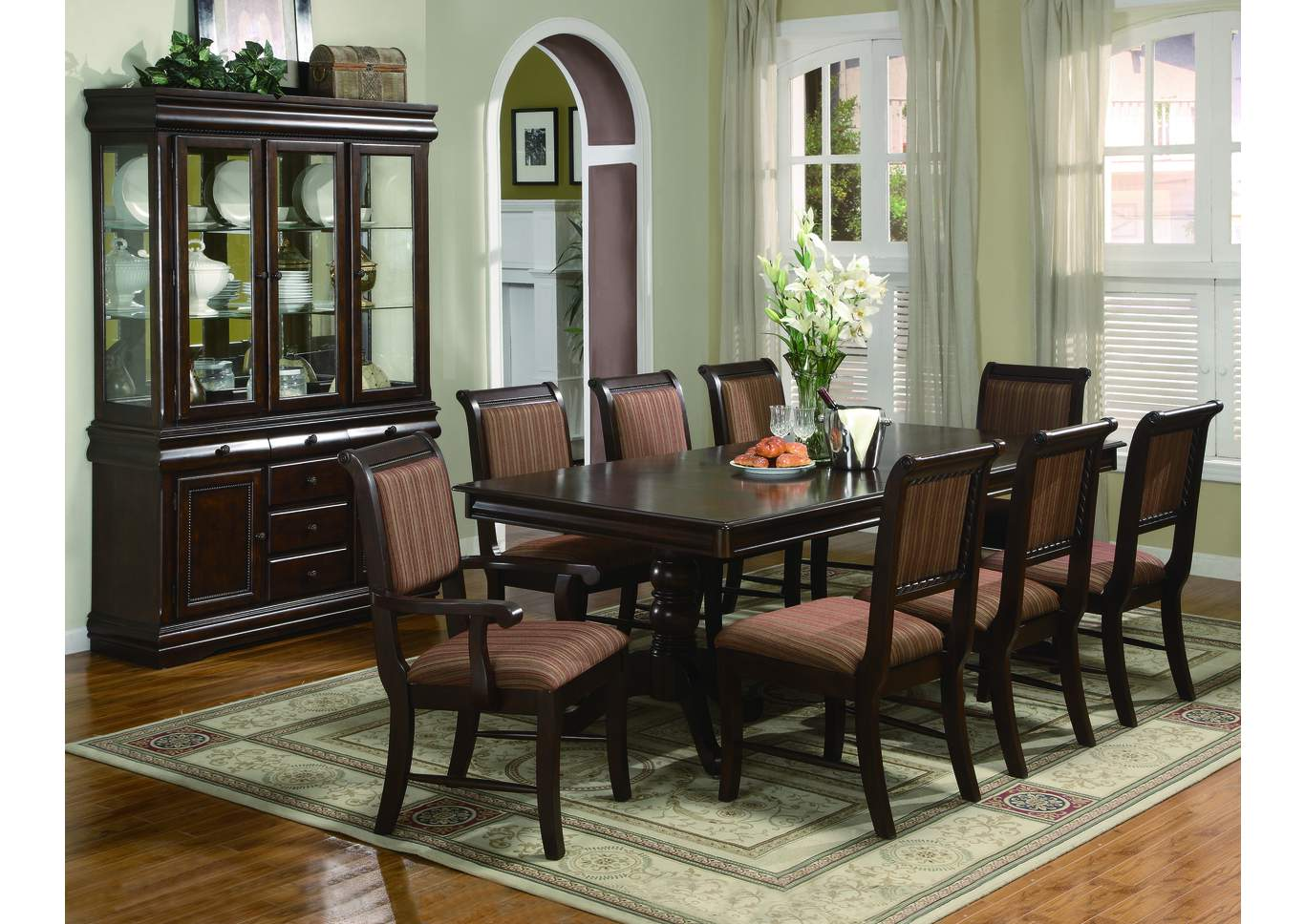 Merlot Rectangular Dining Table w/4 Side Chairs,Crown Mark