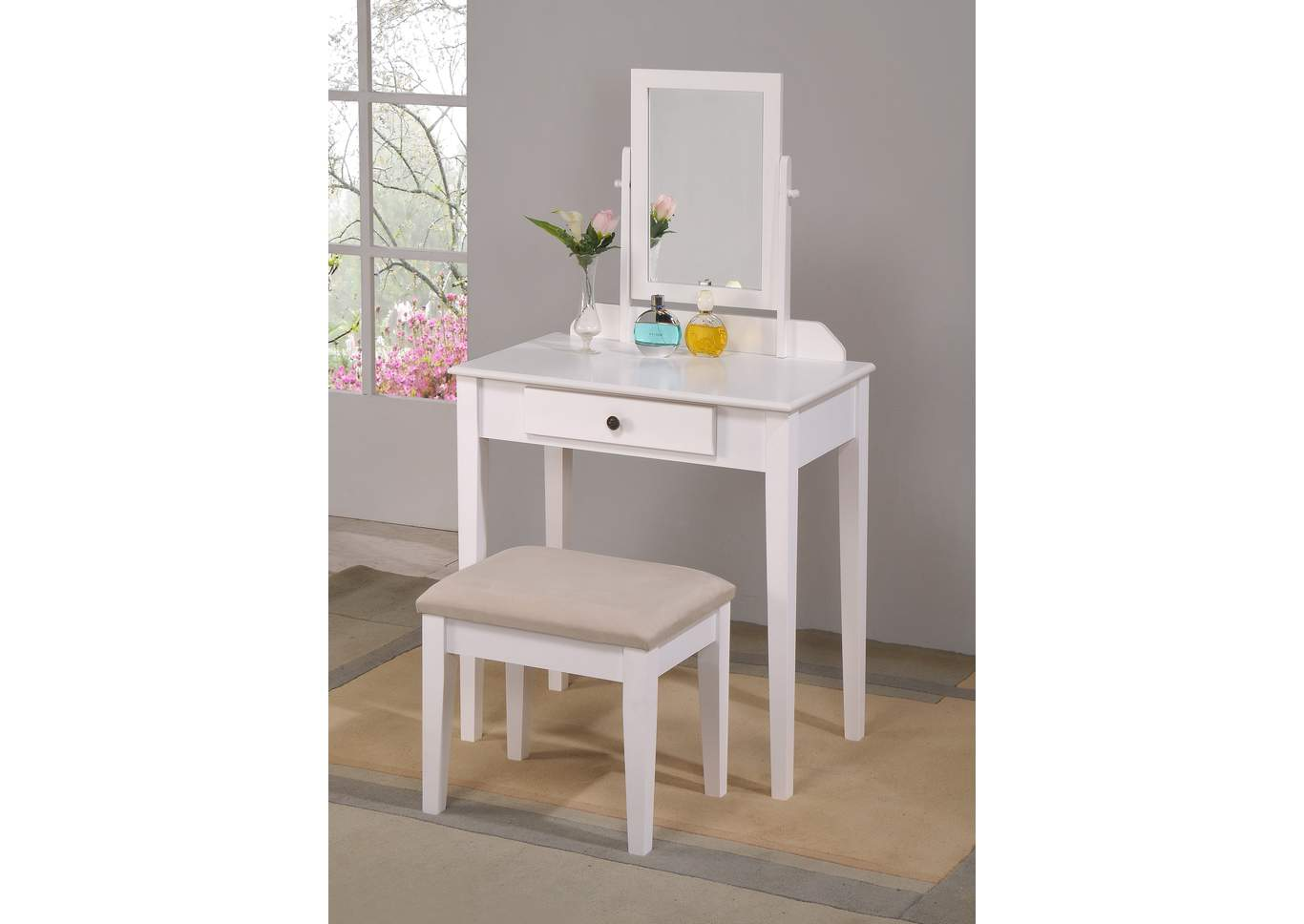 Iris White Vanity Table & Stool,Crown Mark
