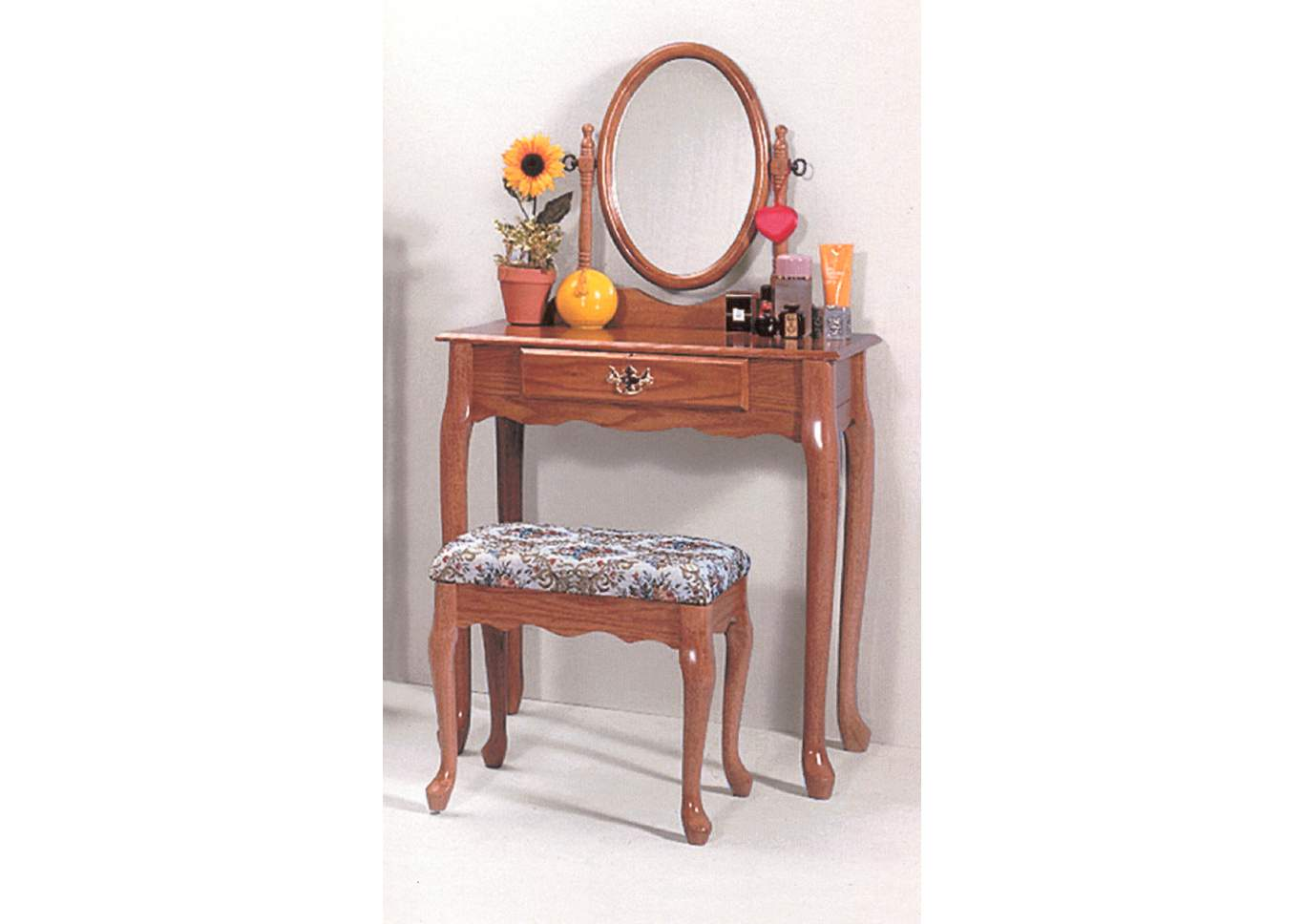 Oak Oval Vanity Table & Stool,Crown Mark