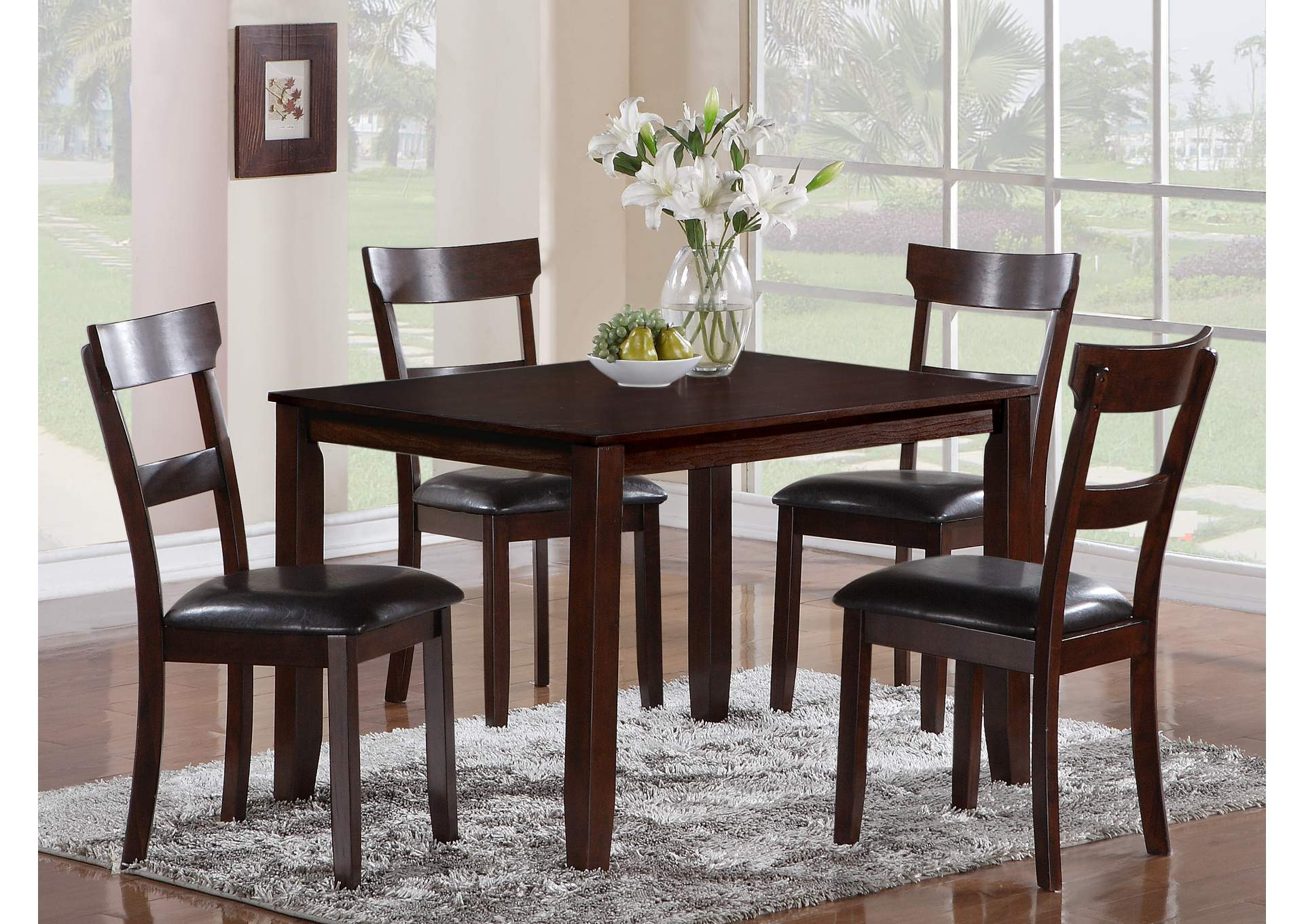 Henderson Square Dining Table w/4 Side Chairs,Crown Mark