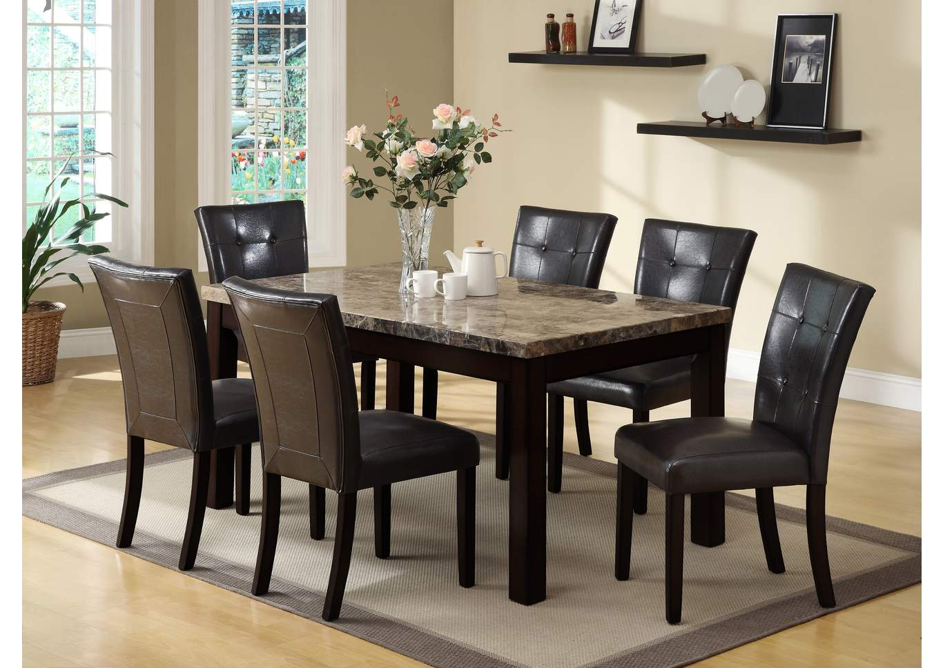 Bruce Rectangular Dining Table W/4 Side Chairs,Crown Mark