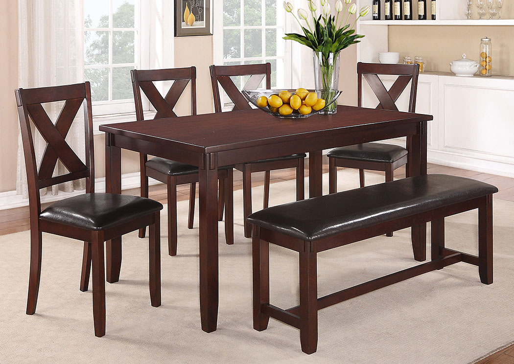 Clara Dinette Table W/4 Side Chairs And Bench,Crown Mark